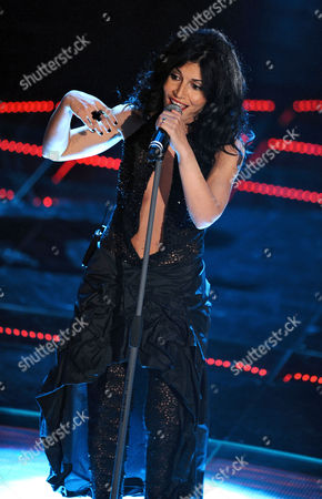 Italian Singer Giusy Ferreri Performs the Song 'Il Mare Immenso' Onstage During the 61st Sanremo Italian Song Festival at the Ariston Theater in Sanremo Italy 15 February 2011 the Festival Takes Place From 15 to 19 February Italy Sanremo