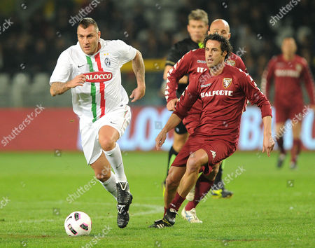 Former Juventus Fc's Italian Soccer Player Christian Vieri (l) in Action During the Friendly Soccer Match of Juventus Turin Against Former Soccer Players of Juventus to Raise Funds For Als (amyotrophic Lateral Sclerosis) in Turin Italy on 23 March 2011 Italy Turin