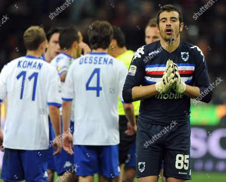 Sampdoria Genoa Goalkeeper Gianluca Curci Reacts After a Penalty was Awarded to Ac Milan During the Italian Serie a Soccer Match at San Siro Stadium in Milan Northen Italy 16 April 2011 Milan Won 3-0 Italy Milan