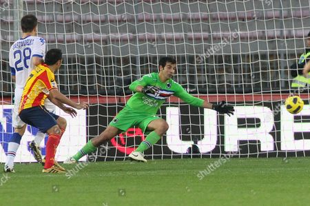 Goalkeeper of Sampdoria Gianluca Curci Beaten by David Di Michele (not in Picture) During Serie a Soccer Match Lecce Vs Sampdoria at ''via Del Mare'' Stadium in Lecce Italy 21 November 2010 Italy Rome