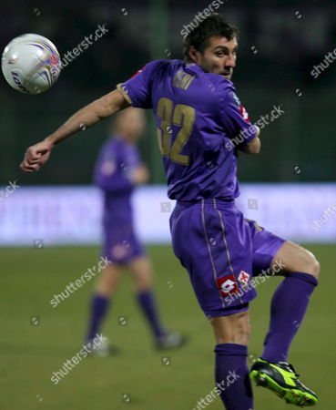 Fiorentina's Cristian Vieri Hits to Score Against Czech Mlada Boleslav During Their Uefa Cup Qualication Match in Florence Italy 20 December 2007 Italy Florence