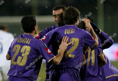 Stock Photo of Fiorentina's Cristian Vieri (c) Jubilates with His Teammates After He Scored Against Czech Mlada Boleslav Team During Their Uefa Cup Qualication Match in Florence Italy 20 December 2007 Italy Florence