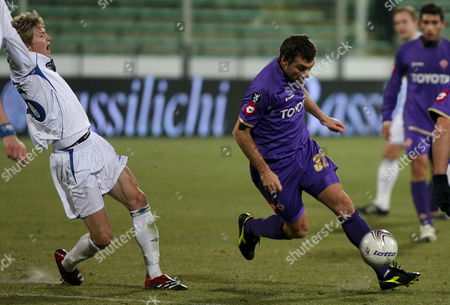Fiorentina's Cristian Vieri in Action Against Czech Mlada Boleslav During Their Uefa Cup Qualication Match in Florence Italy 20 December 2007 Italy Florence