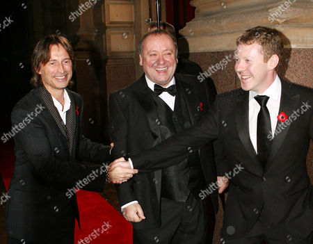 Stock Picture of Robert Carlyle greets Taggart actors Alex Norton and Colin McCreadie.