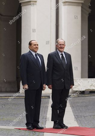 Italian Prime Minister Silvio Berlusconi (l) and Joseph Deiss (r) the President of the United Nations General Assembly For Its 65th Session in 2010 During the Guard of Honor 17 May 2011 at Palazzo Chigi in Rome Deiss is on an Official Visit to Rome Italy Rome