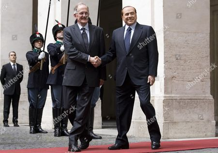 Italian Prime Minister Silvio Berlusconi (r) and Joseph Deiss (l) the President of the United Nations General Assembly For Its 65th Session in 2010 During the Guard of Honor 17 May 2011 at Palazzo Chigi in Rome Deiss is on an Official Visit to Rome Italy Rome