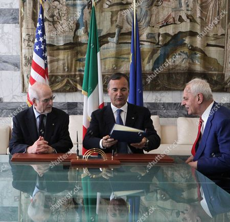 Stock Picture of (l-r) the President of American Revolution Center Bruce Cole Italian Foreign Minister Franco Frattini and Italian Senator Marcello Pera Sit Together During a Ceremony at the Foreign Ministry in Rome Italy on 16 June 2011 They Were Signing a Declaration of Intent For the Opening of a Section Devoted to Relations Between Italy and the Founding Fathers of the United States at the New Museum of the American Revolution That Will Be Created in Philadelphia the Section Will Also Focus on Relations Between the Countries in the Period of Italian Unification the Declaration of Intent was Also Signed by Culture Minister Giancarlo Galan (unseen) Italy Rome