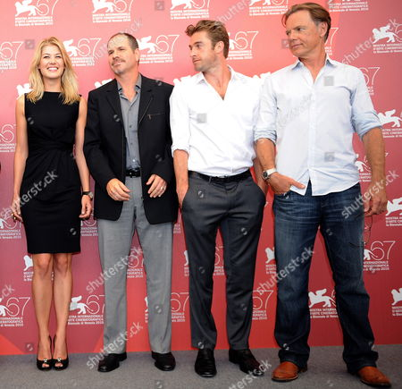 British Actress Rosamund Pike (l-r) Canadian Director Richard J Lewis British Actor Scott Speedman Canadian Actor Bruce Greenwood Pose During the Photocall For Their Movie 'Barney's Version' at the 67th Annual Venice Film Festival in Venice Italy 10 September 2010 the Movie is Presented in the International Competition 'Venezia 67' at the Festival Running From 01 to 11 September Italy Venice