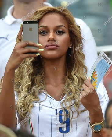 The Girlfriend of Mario Balotelli Fanny Neguesha During the Fifa World Cup 2014 Group D Preliminary Round Match Between England and Italy at the Arena Amazonia in Manaus Brazil 14 June 2014 (restrictions Apply: Editorial Use Only not Used in Association with Any Commercial Entity - Images Must not Be Used in Any Form of Alert Service Or Push Service of Any Kind Including Via Mobile Alert Services Downloads to Mobile Devices Or Mms Messaging - Images Must Appear As Still Images and Must not Emulate Match Action Video Footage - No Alteration is Made to and No Text Or Image is Superimposed Over Any Published Image Which: (a) Intentionally Obscures Or Removes a Sponsor Identification Image; Or (b) Adds Or Overlays the Commercial Identification of Any Third Party Which is not Officially Associated with the Fifa World Cup) Brazil Manaus
