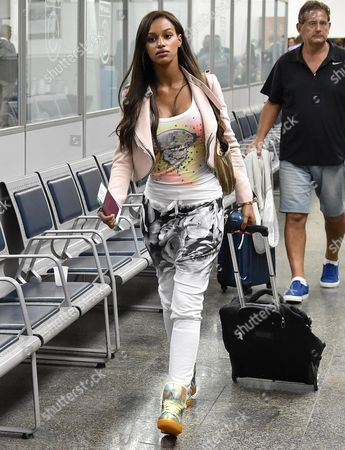 The Girlfriend of Italian Striker Mario Balotelli Fanny Neguesha Arrives at Rio De Janeiro International Airport Brazil 25 June 2014 the Italian Soccer Team was Eliminated at the Group-stage of the World Cup 2014 Following a 1-0 Defeat to Uruguay Brazil Rio De Janeiro