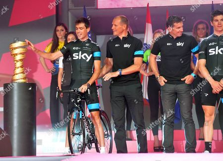 Irish Cyclist Philip Deignan (l) and His Teammates of Team Sky Attend the Official Teams Presentation of the 2014 Giro D'italia Cycling Race at City Hall in Belfast Northern Ireland 08 May 2014 Belfast is Hosting the Giro D'italia Big Start (grande Partenza) with Three Days of Cycling Action From 9 to 11 May 2014 United Kingdom Belfast