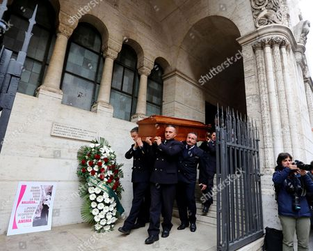 The Coffin of Swedish Actress Anita is Carried out of the Evangelic Luteran Church After the Funeral Service in Rome Italy 14 January 2015 Ekberg Has Died Aged 83 on 11 January in a Hospital Just Outside Rome where She Had Been Living Wheelchair-bound For the Past Several Years Italy Rome