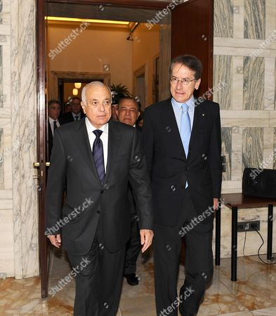 Italy Foreign Minister Giulio Terzi (r) Walks with the Secretary General of the Arab League Nabil El Araby (l) During a Meeting at the Farnesina in Rome Italy 13 June 2012 Italy Rome