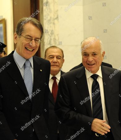 Italy Foreign Minister Giulio Terzi (l) Walks with the Secretary General of the Arab League Nabil El Araby (r) During a Meeting at the Farnesina in Rome Italy 13 June 2012 Italy Rome
