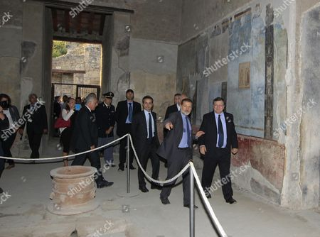 President of the European Commission Jose Manuel Durao Barroso (r) with the Superintendent of Pompeii Massimo Osanna (l) During His Visit at the Pompeii's Archaeological Excavations Italy 10 October 2014 Italia Pompei