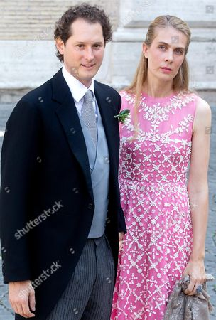 Us-born Italian Heir of Fiat John Elkann and His Wife Lavinia Borromeo Arrive to Attend the Wedding of Italian Journalist Elisabetta Maria Rosboch Von Wolkenstein and Prince Amedeo of Belgium at the Basilica Di Santa Maria in Trastevere in Rome Italy 05 July 2014 Prince Amedeo is the Eldest Child of Princess Astrid and Her Husband Prince Lorenz Archduke Lorenz of Austria Italian Journalist Elisabetta Maria Rosboch Von Wolkenstein is the Only Child of Ettore Roshboch Von Wolkenstein and Countess Lilia De Smecchia the Couple's Engagement was Officially Announced on 15 February 2014 Italy Rome