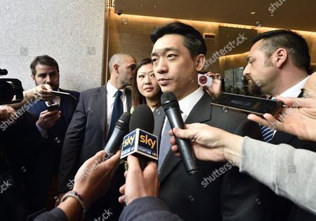 Thai Businessman Bee Taechaubol (c) Speaks to Members of the Media After a Meeting with Ac Milan President Silvio Berlusconi at the End of Their Meeting in Milan Italy 02 May 2015 Italy Milan