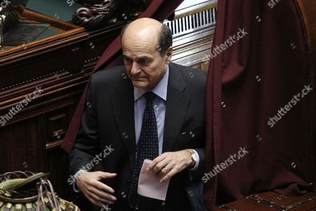 Italian Democratic Party Secretary Pier Luigi Bersani About to Cast His Vote During the Third Secret Ballot For the Italian Republic President Election with Deputies and Senators in a Common Session in the Chamber of Deputies Rome 18 April 2013 Bersani Called on His Party to Rediscover Its Unity After Voting Unanimously to Make Twice Premier Romano Prodi Its Candidate to Be President Italy Rome
