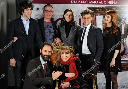 (back L-r) Italian Actors/cast Members Pierpaolo Spollon Director Pietro Parolin Helene Olivi Borghese Stefano Pesce Anna Dalton and Front Row (l-r) Neri Marcore and Piera Degli Esposti Pose For Photographs During the Photocall For the Movie 'Leoni' in Rome Italy 29 January 2015 the Movie Will Be Released in Italian Theaters on 05 February Italy Rome