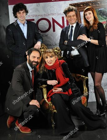 (l-r) Italian Actors/cast Members Pierpaolo Spollon Neri Marcore Piera Degli Esposti Stefano Pesce and Anna Dalton Pose For Photographs During the Photocall For the Movie 'Leoni' in Rome Italy 29 January 2015 the Movie Will Be Released in Italian Theaters on 05 February Italy Rome