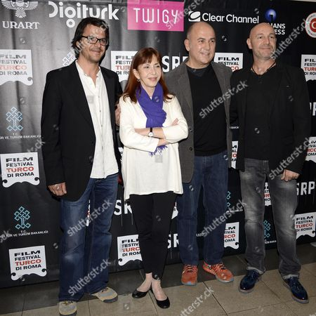 (l-r) Turkish Actors Mehmet Gunsur and Humeyra Akbay Turkish Director Ferzan Ozpetek and Turkish Director Cagan Irmak Pose During the Photocall For 'Se Mi Dimentico Sussurra' ('whisper if i Forget') in Rome Italy 16 April 2015 the Movie Opens the Fourth Edition of the Turkish Film Festival Which Runs From 16 to 19 April Italy Rome (italy)