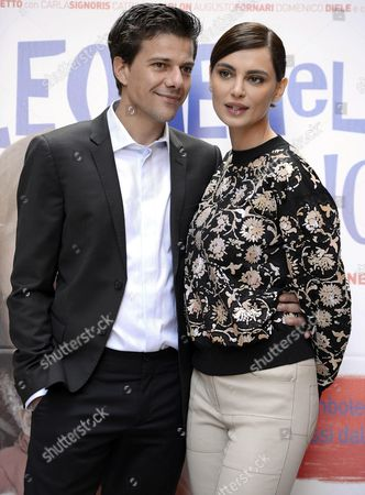 Italian Actor/cast Member Domenico Diele and Romanian Actress/cast Member Catrinel Menghia (r) Pose For Photographs During the Photocall For 'Leone Nel Basilico' in Rome Italy 04 December 2015 the Movie Will Be Released in Italian Theaters on 10 December Italy Rome