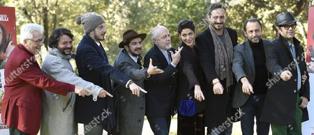 Actors/cast Members (l-r) Peppino Di Capri Pasquale Petronio Alias Lillo Paolo Ruffini Francesco Mandelli Italian Producer Auerelio De Laurentiis Giulia Bevilacqua Italian Filmmaker Volfango De Biasi Italian Producer Luigi De Laurentiis and Claudio Gregori Alias Greg Pose For Photographs During the Photocall of 'Natale Col Boss' in Rome Italy 15 December 2015 the Movie Will Be Released in Italian Theaters on 16 December Italy Rome
