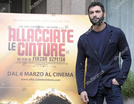 Italian Actor/cast Member Francesco Arca Poses For Photographs During the Photocall For the Movie 'Allacciate Le Cinture' (fasten Your Belts) in Rome Italy 27 February 2014 the Movie Will Be Released in Italian Theaters on 06 March Italy Rome