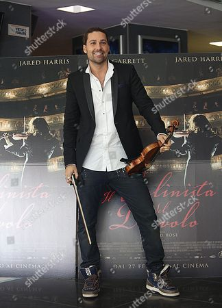Stock Image of German Violinist/cast Member David Garrett Poses During the Photocall For the Movie 'The Devil's Violinist' Directed by Bernard Rose in Rome Italy 17 February 2014 the Movie Will Be Released on 27 February in Italian Theaters Italy Rome