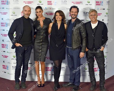 (l-r) Italian Director Massimo Cappelli Argentine Actress/cast Member Belen Rodriguez Italian Actors/cast Members Tosca D'aquino Fabio Troiano and Dino Abbrescia Pose During the Photocall For 'Non C'e' 2 Senza Te' (lit: There is No 'Second Without You) in Rome Italy 28 January 2015 Italy Rome