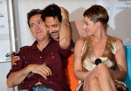 Actors Marco Giallino (l) Andrea Osvart (r) and Giuseppe Fiorello (c) Are Pictured During the Press Conference of the 2012 Nastri D'argento (silver Ribbon) Awards in Taormina Sicily Island Italy 30 June 2012 Italy Taormina