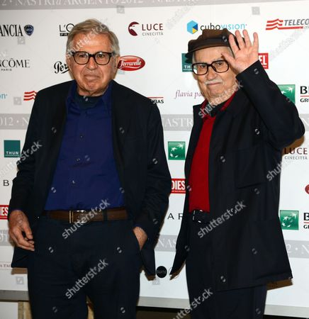 Italian Directors Paolo (l) and Vittorio Taviani (r) Attend the Nominations of Nastri D'argento Award in Rome Italy 04 June 2012 Italy Rome