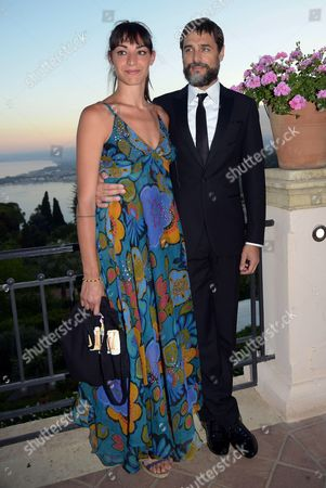 Italian Actors Silvia Pietta (l) and Daniele Pecci Pose For Photographs During a Party of the Taormina Film Festival at the Teatro Antico in Taormina Sicily Island Italy Late 19 June 2013 the 59th Edition of the Festival Runs From 15 to 22 June Italy Taormina