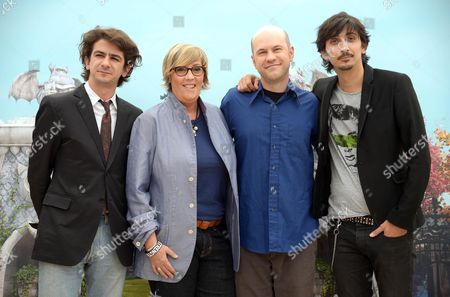 Italian Actors Francesco Mandelli (l) and Fabrizio Biggio (r) and Us Filmmakers of Disney/pixar Dan Scanlon (2-r) and Kori Rae (2-l) Pose During the Photocall For the Movie 'Monsters University' in Rome Italy 12 June 2013 the Movie Will Be Released in Italian Cinemas on 21 August Italy Roma