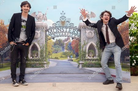 Italian Actors Francesco Mandelli (r) and Fabrizio Biggio (l) Pose During the Photocall For the Movie ''monsters University'' by Us Filmmakers Dan Scanlon and Kori Rae of Disney/pixar in Rome Italy 12 June 2013 the Movie Will Be Released in Italian Cinemas on 21 August Italy Roma