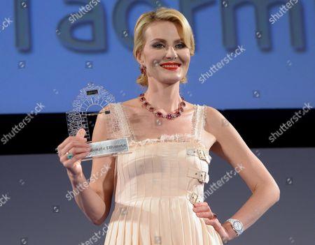 Russian Actress Renata Litvinova Poses After She Received the 'Taormina Arte Award' During the Taormina Film Festival at the Teatro Antico in Taormina Sicily Island Italy 17 June 2013 the 59th Edition of the Festival Runs From 15 Until 22 June Italy Taormina