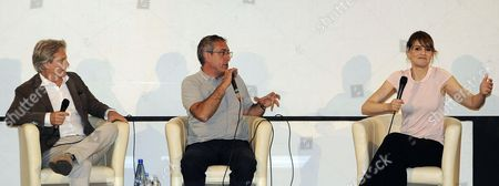 (l-r) Italian Actor Giulio Scarpati Festival Director Mario Sesti and Italian Actress Paola Cortellesi Speak During the 'Campus' with the Students Event During the 60th Taormina Film Festival in Taormina Sicily Island Italy 19 June 2014 the Festival Runs From 14 to 21 June Italy Taormina