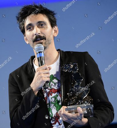 A Picture Made Available on 15 June 2015 Shows Italian Actor Fabrizio Biggio Speaking After Receiving the 'Cariddi Award' During a Ceremony at the Teatro Antico As Part of the 61th Annual Taormina Film Festival Festival Taormina Sicily Island Italy Late 14 June 2015 the Festival Runs From 13 to 20 June Italy Taormina (messina)