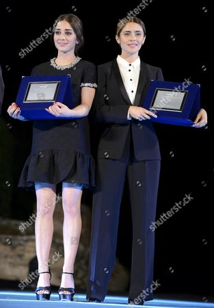 A Picture Made Available on 29 June 2015 Shows Italian Actresses Simona Tabasco (l) and Greta Giannini (r) Posing with Their 'Guglielmo Biraghi' Awards During the Award Ceremony of the 61st Taormina Film Festival at the Teatro Antico in Taormina Sicily Island Italy 27 June 2015 the Awards Are Presented Annually by the Sindacato Nazionale Dei Giornalisti Cinematografici Italiani (sngci) the Association of Italian Film Critics Italy Taormina