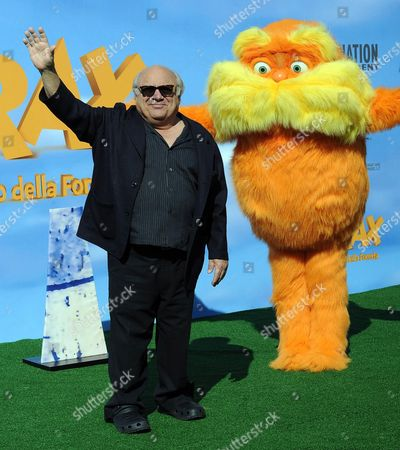 Stock Photo of Us Actor and Cast Member Danny De Vito Poses For Photographs During the Photocall For the Movie 'Dr Seuss' the Lorax (lit: Lorax-il Guardiano Della Foresta) in Rome Italy 09 March 2012 the Movie Will Be Released in Italian Cinemas on 01 June Italy Rome