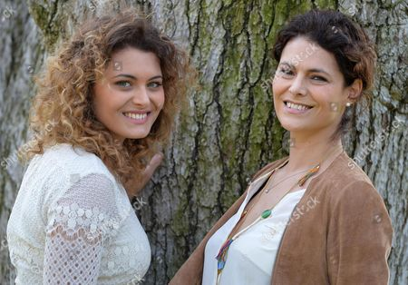 Stock Image of Italian Actresses Celeste Casciaro (r) and Laura Licchetta Pose During the Photocall For the Movie 'In Grazia Di Dio' (english Title: Quiet Bliss) in Rome Italy 21 March 2014 Italy Rome