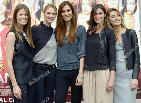 Stock Picture of (l-r) Actresses/cast Members Alessia Piovan Antonia Liskova Italian Director Mirca Viola Ilaria Capponi and Sveva Alviti Pose For Photographs During the Photocall For the Movie 'Cam Girl' in Rome Italy 19 May 2014 the Movie Will Be Released in Italian Theaters on 22 May Italy Rome