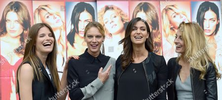 (l-r) Actresses/cast Members Alessia Piovan Antonia Liskova Ilaria Capponi and Sveva Alviti Pose For Photographs During the Photocall For the Movie 'Cam Girl' in Rome Italy 19 May 2014 the Movie Will Be Released in Italian Theaters on 22 May Italy Rome