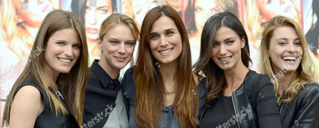 (l-r) Actresses/cast Members Alessia Piovan Antonia Liskova Italian Director Mirca Viola Ilaria Capponi and Sveva Alviti Pose For Photographs During the Photocall For the Movie 'Cam Girl' in Rome Italy 19 May 2014 the Movie Will Be Released in Italian Theaters on 22 May Italy Rome