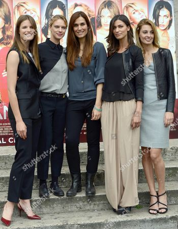 Stock Photo of (l-r) Actresses/cast Members Alessia Piovan Antonia Liskova Italian Director Mirca Viola Ilaria Capponi and Sveva Alviti Pose For Photographs During the Photocall For the Movie 'Cam Girl' in Rome Italy 19 May 2014 the Movie Will Be Released in Italian Theaters on 22 May Italy Rome