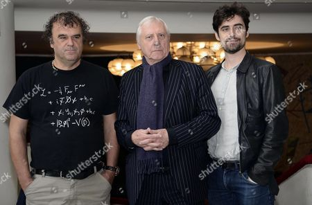 Stock Image of British Director Peter Greenaway (c) Poses with Italian Actors Pippo Delbono (l) and Flavio Parenti (r) During a Photocall For His Movie 'Goltzius and the Pelican Company' in Rome Italy 11 November 2014 the Movie Will Be Screened at the Italian 'Argentina Theater' on 12 November Italy Rome