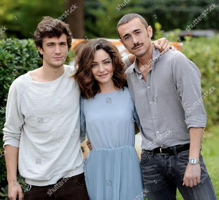 (l-r) Italian Actors/cast Members Eugenio Franceschini Valentina Corti and Francesco Martino Pose For Photographs During the Photocall For the Movie 'Fango E Gloria' (mud and Glory) in Rome Italy 13 October 2014 Italy Rome