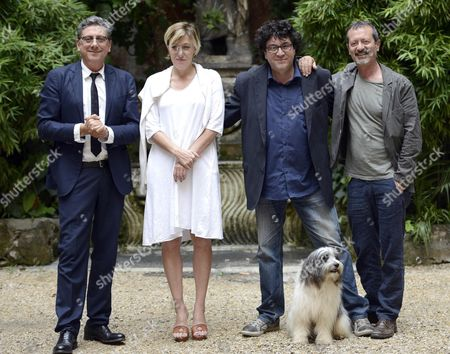 (l-r) (l-r) Italian Actors/cast Members Sergio Castellitto Valeria Bruni Tedeschi Italian Director Daniele Cipri' and Rocco Papaleo Pose During the Photocall For 'La Buca' (the Hole) in Rome Italy 18 September 2014 the Movie Will Premiere in Italian Theaters on 25 September Italy Rome