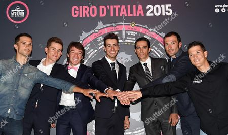 From Left to Right the Cyclists Nacer Bouhanni Michal Kwiatkowski Rigoberto Uran Fabio Aru Alberto Contador Ivan Basso and Julian Arredondo During the Presentation of the Tour of Italy 2015 in Milan Italy 6 October 2014 Italy Milan