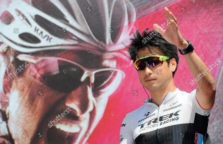Japanese Rider Fumiyuki Beppu of Team Trek Factory Racing Before the Fourth Stage of the 98th Giro D'italia Cycling Race Over 150km From Chiavari to La Spezia Italy 12 May 2015 Italy Chiavari